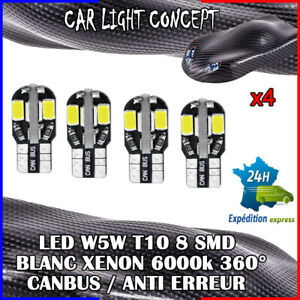 4-x-ampoule-Veilleuse-LED-W5W-T10-Canbus-BLANC-XENON-6000k-voiture-moto-8-smd