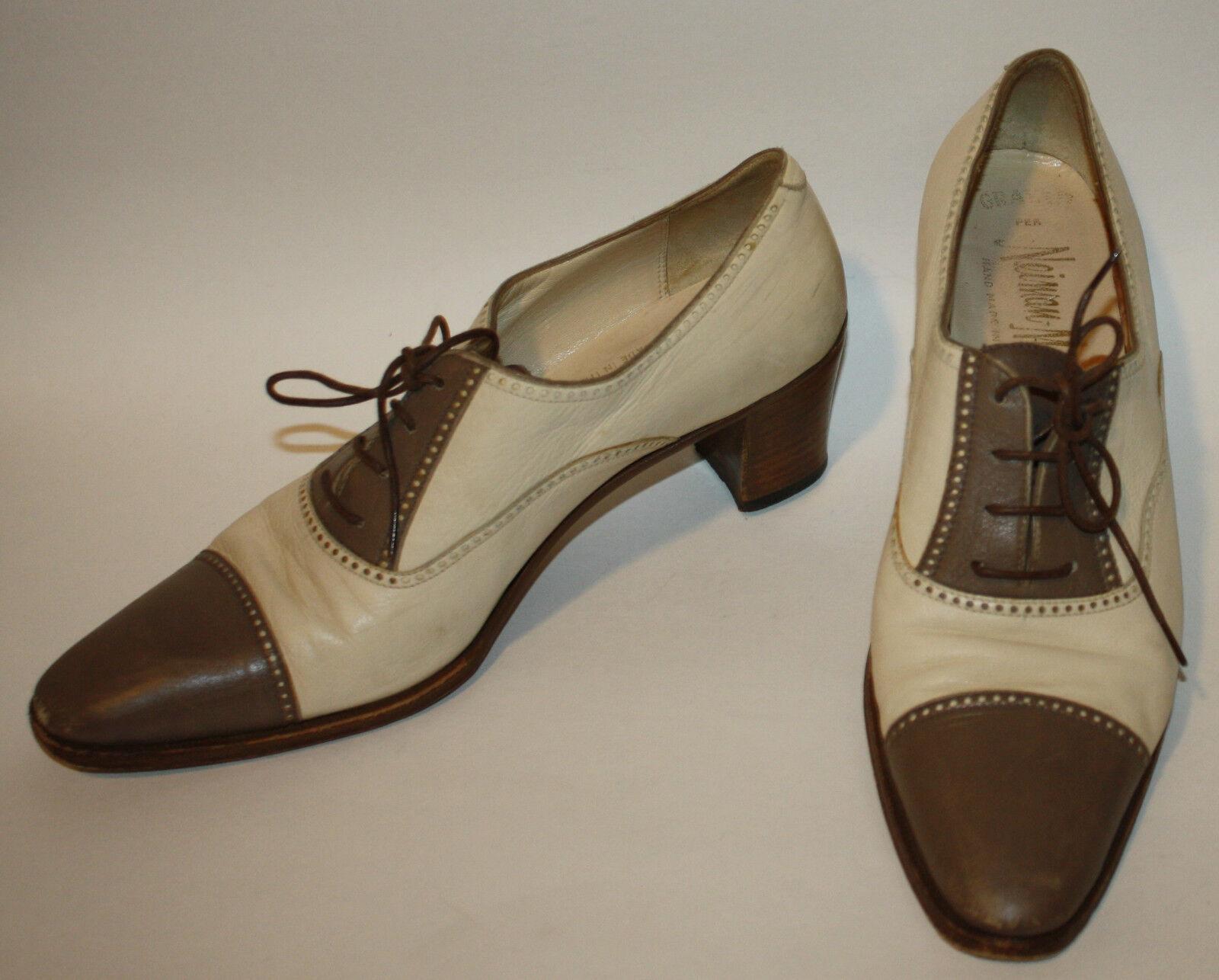 GRAVATI Spectator Neiman Marcus Taupe Ivory Leather Spectator GRAVATI Brogue Oxford Shoes 9N fce0ac