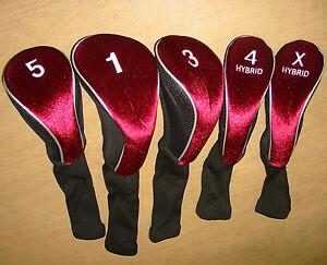 Calibre-Set-of-5-Long-Neck-Acrylic-Headcovers-460cc-1-3W-5W-Hybrid-4-amp-X