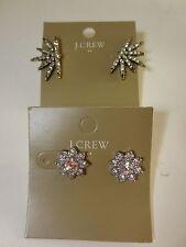 J.Crew Factory Crystal Flower Stud &b Burst Earrings item 63065 NWT $22.50 LOT 2