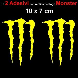 Kit-2-Adesivi-Monster-Graffio-Moto-Stickers-Adesivo-7-x-10-cm-decalcomania-GIALL