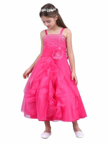UK Flower Girls Bridesmaid Wedding Dress Kids Formal Party Birthday Tutu Gown