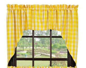 Details about country cabin farmhouse kitchen Picnic Yellow plaid pattern  Swags curtains