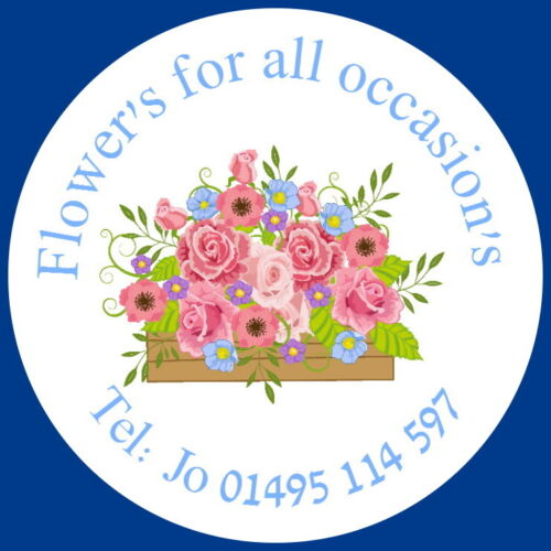 24 GLOSS PERSONALISED LABEL STICKERS FOR FLORISTS,BOUQUETS FLOWER ARRANGING
