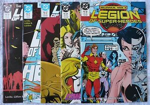 LEGION-OF-SUPER-HEROES-42-46-47-61-63-1988-89-mixed-lot-of-5-comics-M-NM