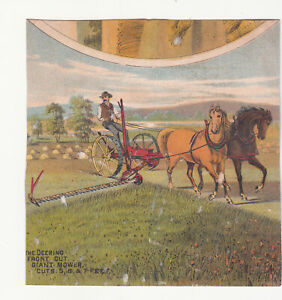 Deering Front Cut Giant Mower Horses Field Chickens Vict Card c1880s