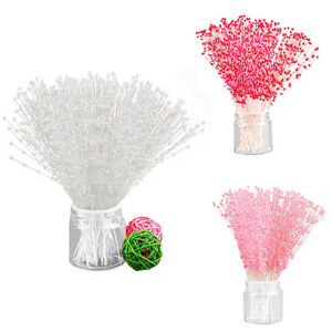 100pcs Bridal Pearl Spray 6 Colors Beads Wired Stem Wedding Flower Bouquet Craft