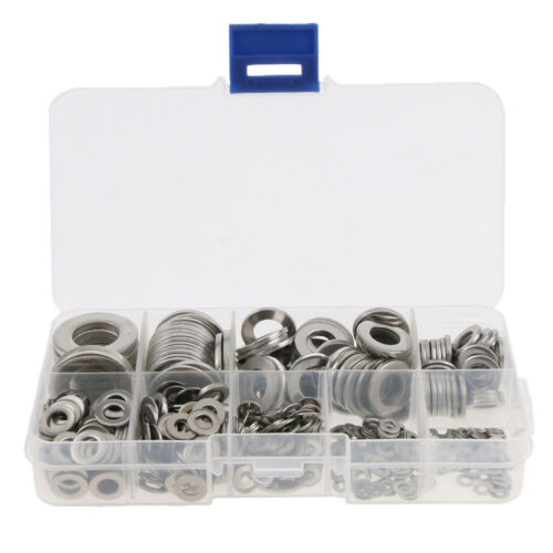 580pcs Assorted Stainless Steel Crush Washers Seal Flat Ring Fittings M2-12