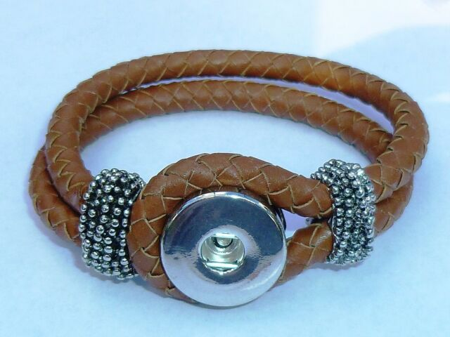 Snap It Braided Leather Bracelet For Snaps Size MEDIUM **We Combine Shipping**