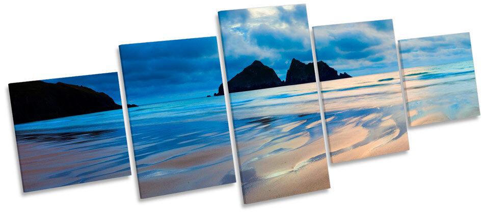 Holywell Bay Cornwall Beach MULTI CANVAS WALL ART Box Frame Print