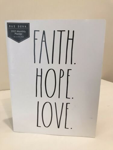 Monthly Planner Ivory 9.5x7x5 Jan-Dec 2021 NEW Rae Dunn Faith Hope Love 12