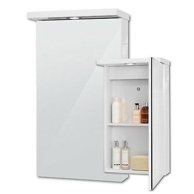 Bathroom Mirror Cabinet Spot Light 2 Shelves Storage 400 Mirrored White Cabinet