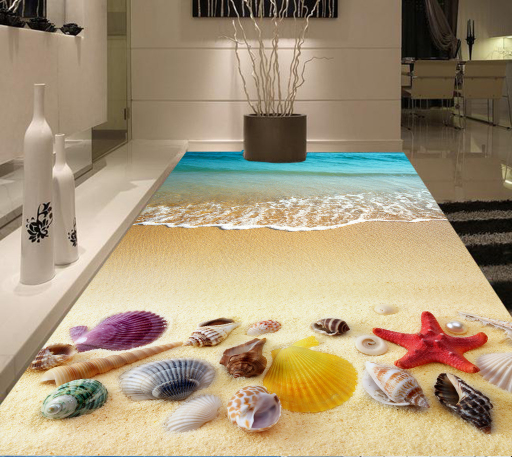 3D Seashell Waves Beach 455 Floor WallPaper Murals Wall Print Decal AJ WALLPAPER