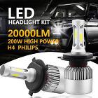 2Pcs H4 200W 20000LM High-Low Beam COB LED Headlight Bulbs HB2 9003 6500K KIT
