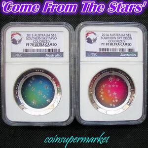 2013-2014-Australia-Southern-Sky-Proof-Colored-Silver-Domed-Coins-NGC-PF70-UC