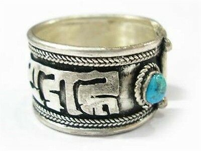 Wholesale 5pcs Over Half Inch Wide Thick Tibetan Turquoise OM Mani Amulet Ring