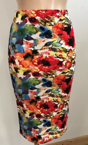 RED WHITE BLUE FLORAL CASUAL PENCIL TUBE WIGGLE STRETCH MIDI SKIRT SIZE 10-20