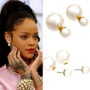 Image Is Loading Celebrity Elegant Extra Large Faux Pearl Stud Earrings