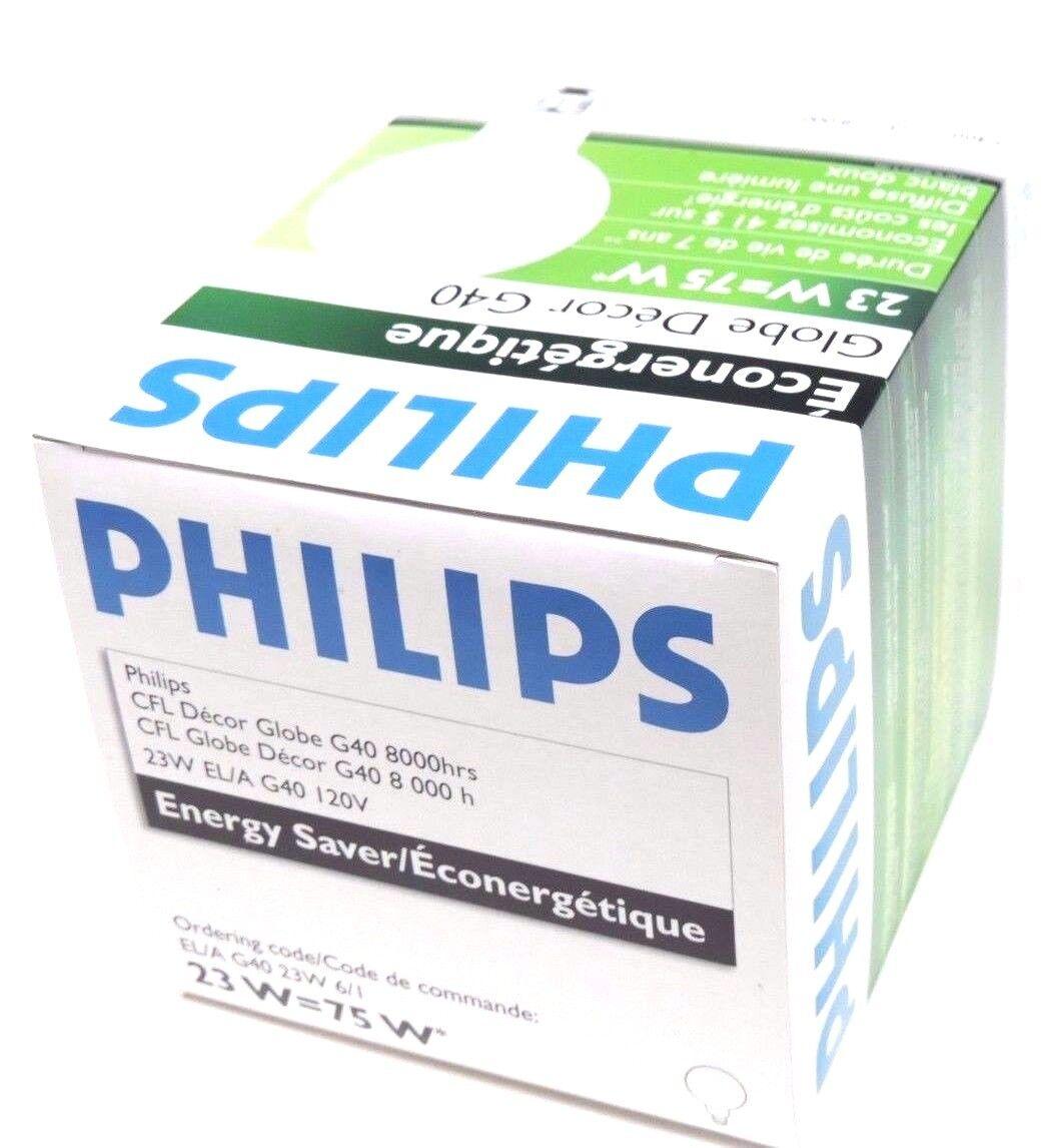21107-8 NIB CASE OF 6 PHILIPS CFL GLOBE DECOR EL//A G40 23W LIGHT BULBS