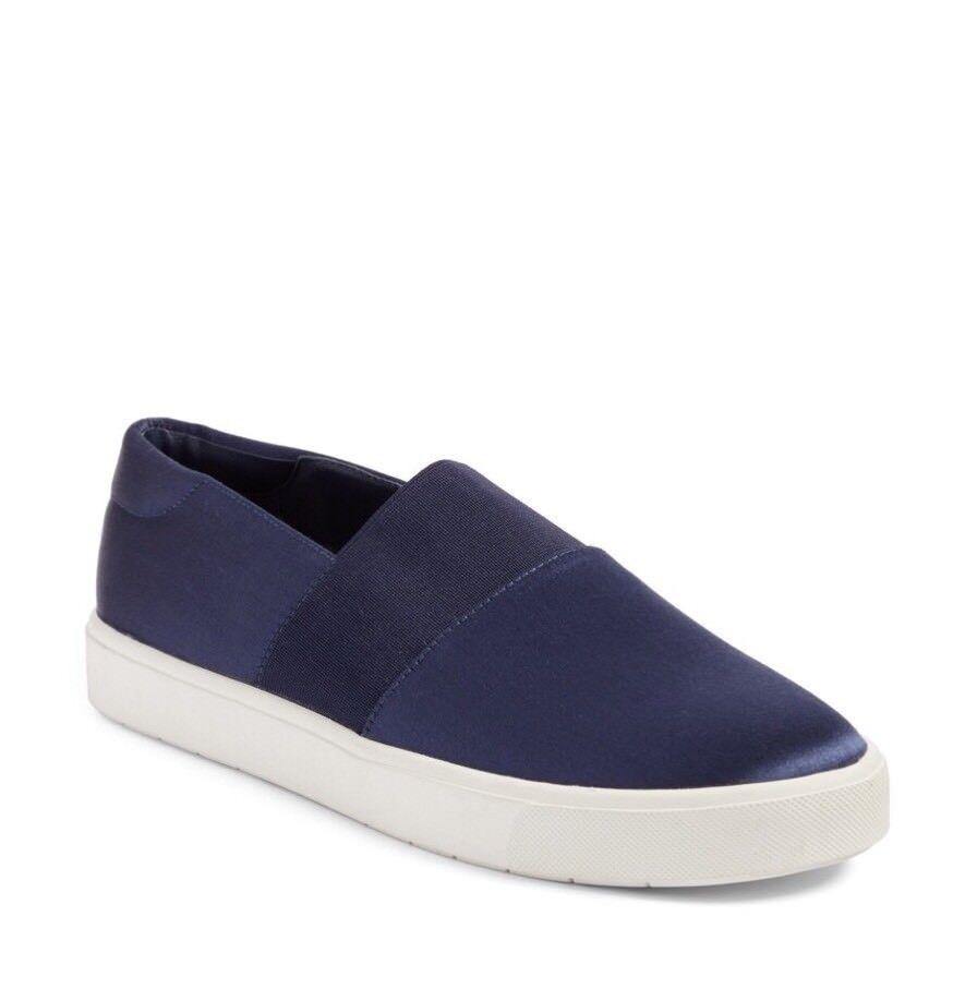 Vince Corbin Navy Satin Slip-On Sneaker Size 9.5 Retail  195