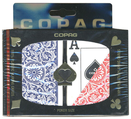 """/""""1546/"""" RED COPAG PLAYING CARDS FREE S//H * BLUE PLASTIC 2 DECKS JUMBO INDEX"""