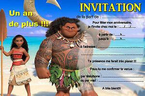 Carte Anniversaire Vaiana.Details Sur 5 12 14 Ou 30 Cartes Invitation Anniversaire Vaiana Ref 416