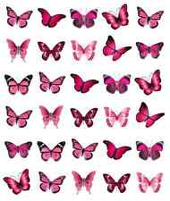 30x Pink Butterflies Cupcake Toppers Edible Wafer Paper Fairy Cake Toppers