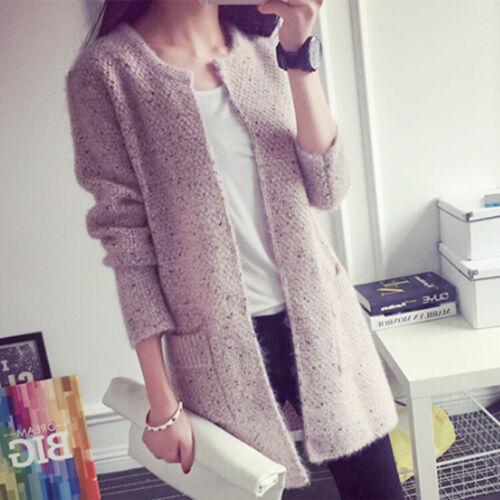 Women Cardigan Loose Sweater Long Sleeve Knitted Sweater Outwear Jacket Coat