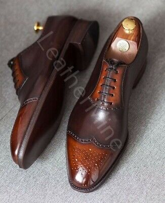 Mens  Brown Brogue Leather Shoes Formal Dress Leather Shoes Custom Size
