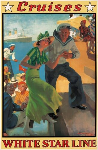 TX368 Vintage Cruises White Star Line Ship Liner Travel Poster Re-Print A2//A3//A4