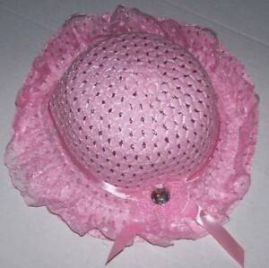 PINK EASTER BONNET EASTER HAT w//WAVY BRIM /& LACE TODDLER LITTLE GIRL NEW