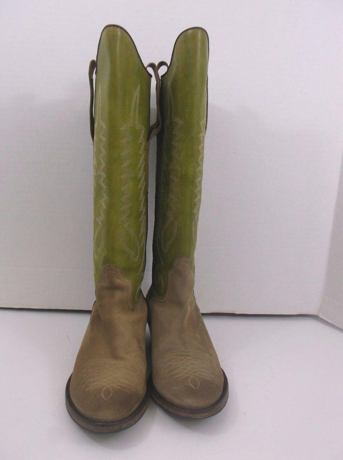 Numero 37 Italian Donna Pelle Western Donna Italian Stivali Green Tan size 39 Euro 7.5 us 15c8c2
