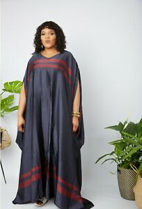 Full Length African Print Embellished Chiffon Bubu - One Size Fits All - Green