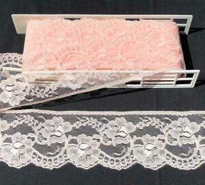 Vintage-Lace-Trim-4-034-Wide-Peach-4-Yards-Roses-Sheer-Soft-Net-Lot-29