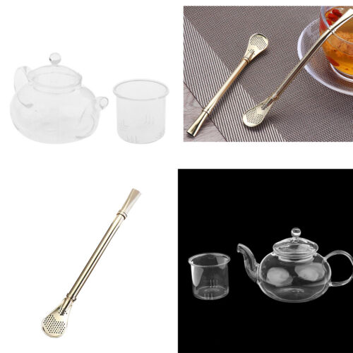Glass Infusion Tea Coffee Pot With Infuser 400ml Filtered Spoons Straw