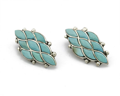 Zuni Handmade Inlaid Natural Turquoise Diamond Shape .925 Silver Earring
