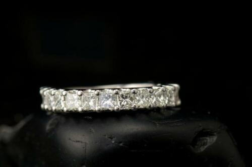 2.25 Ct Princess Cut D//VVS1 Half Eternity Wedding Band Ring 14k White Gold GP