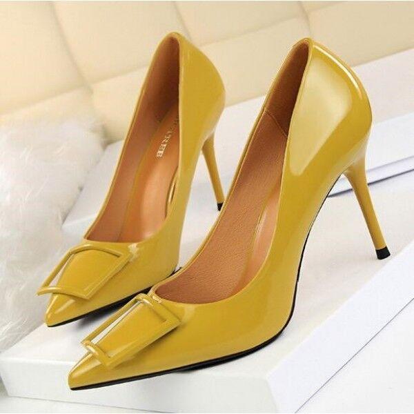 Zapatos de salón mujer amarillo amarillo amarillo ocra tacón aguja 9 cm perno como piel 8309  encuentra tu favorito aquí