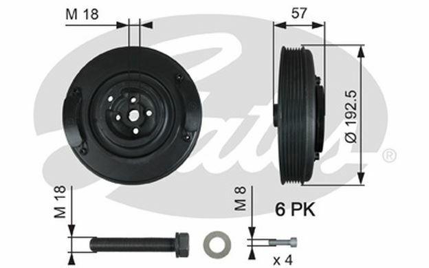 GATES Poulie damper pour VOLVO 850 S80 V70 AUDI A6 VOLKSWAGEN LT TVD1033A