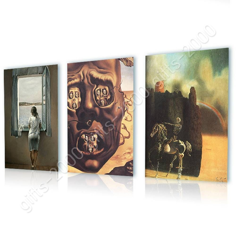 Woman Window Face War Horseman by Salvador Dali   Canvas (Rolled)   Set Of 3
