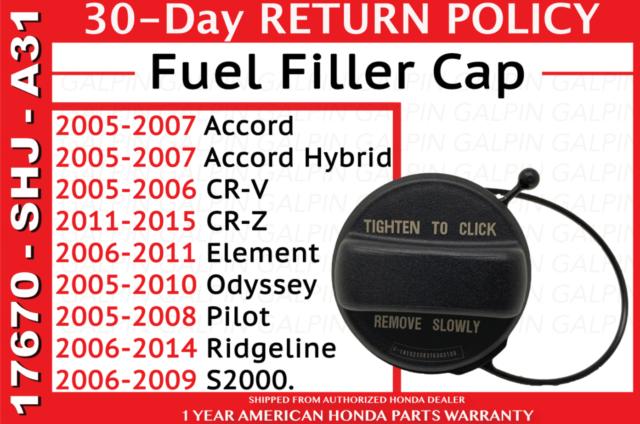 Acura Gas Fuel Filler Cap 17670-SHJ-A31 Genuine Parts OEM Honda