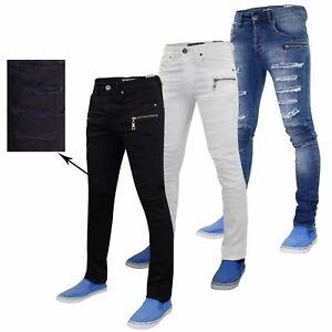 Mens-Jeans-ajustados-Super-Stretch-rasgada-SLIM-FIT-pantalones-de-tela-vaquera-envejecida-toda-la