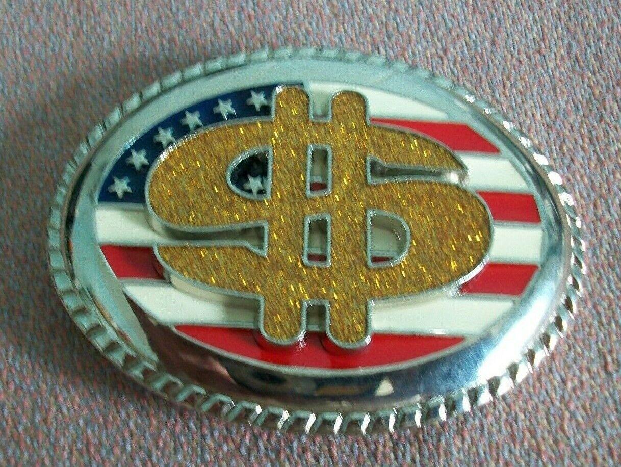 belt buckle American flag with American dollar on. size 9 cm x 6.8 cm.