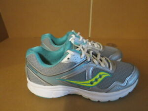 WOMENS SAUCONY GRID COHESION 10 GRAY WHITE TEAL RUNNING SHOES SIZE 7.5M A652