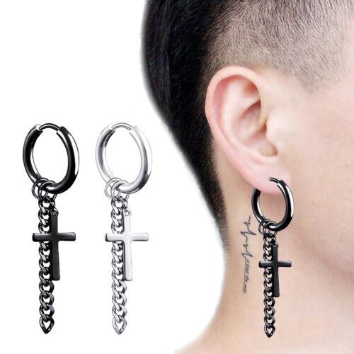 Kpop BTS Jimin Bangtan Boys Punk Cross Tassel Huggie Hinged Hoop Earrings 1 Pair