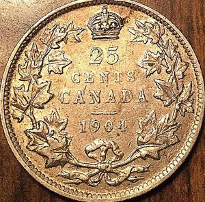 1904-CANADA-SILVER-25-CENTS-COIN-SILVER-QUARTER-A-nicer-example