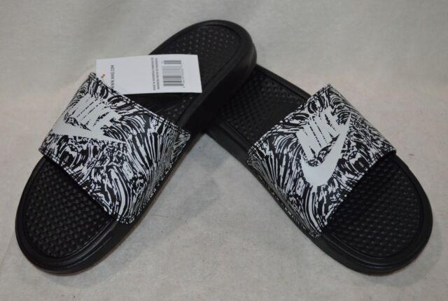 cd617b5de6be Nike Benassi JDI Print Mens 631261-006 Black White Logo Slide Sandals Size  12