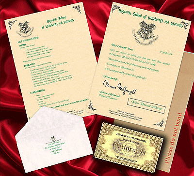 HARRY POTTER HOGWARTS ACCEPTANCE LETTER PERSONALISED GIFT &FREE EXPRESS TICKET