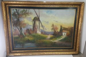 Antique-DUTCH-MASTER-OIL-PAINTING-Landscape-Countryside-ORIGINAL-ART-Signed