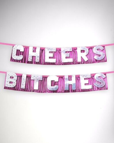 Bachelorette Party Supplies Cheers Bitches Wall Banner Birthday Bride Pink Foil